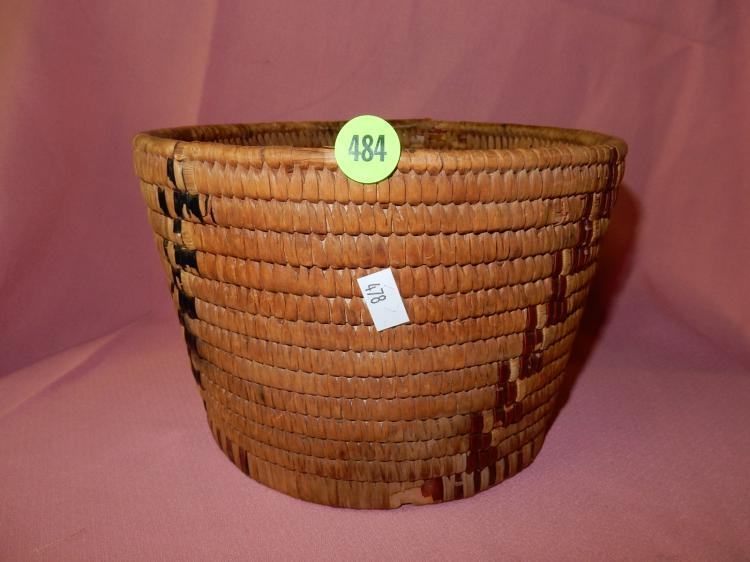 Vintage hand woven Native American basket, minor loss to bottom edge