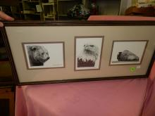 Nice tri framed signed and numbered prints by Daniel Sutherland with Eagle, Bear and Buffalo