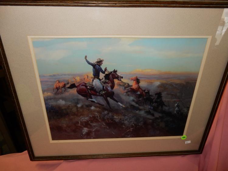 Framed cowboy litho by JK Ralston
