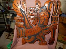Unique carved Native American style wood wall plaque with bird man looking figure, COND G, shows old