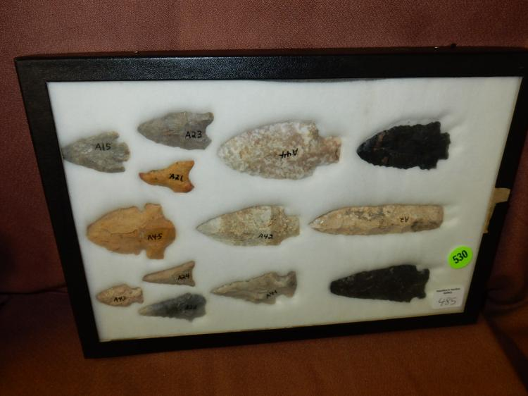 Nice framed collection of handmade Native American arrowheads / tools, etc, with case, various sizes