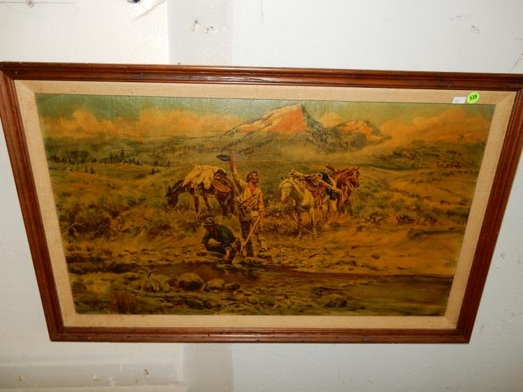 Vintage framed C.M. Russell print on canvas, Gold Miners in creek scene