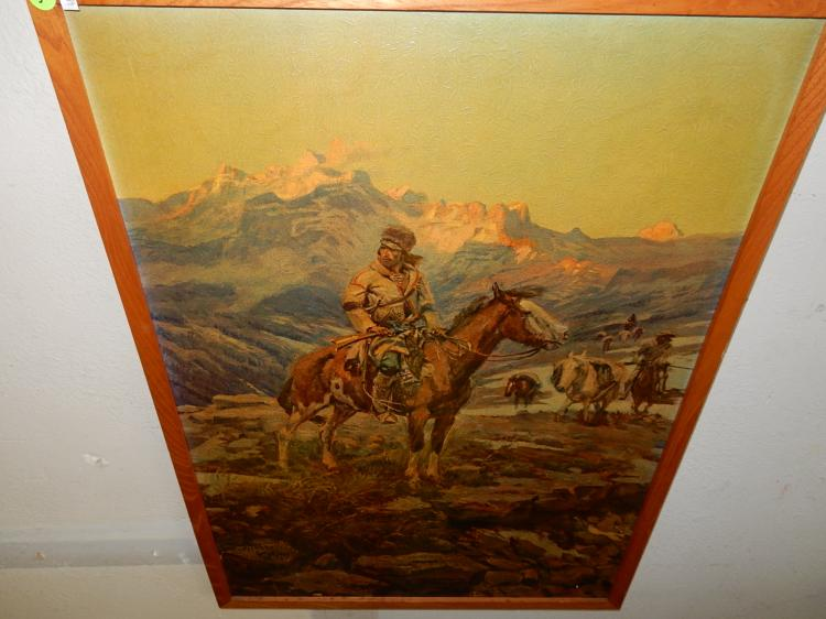 Vintage framed C.M. Russell print on canvas, Mountain man on horse scene