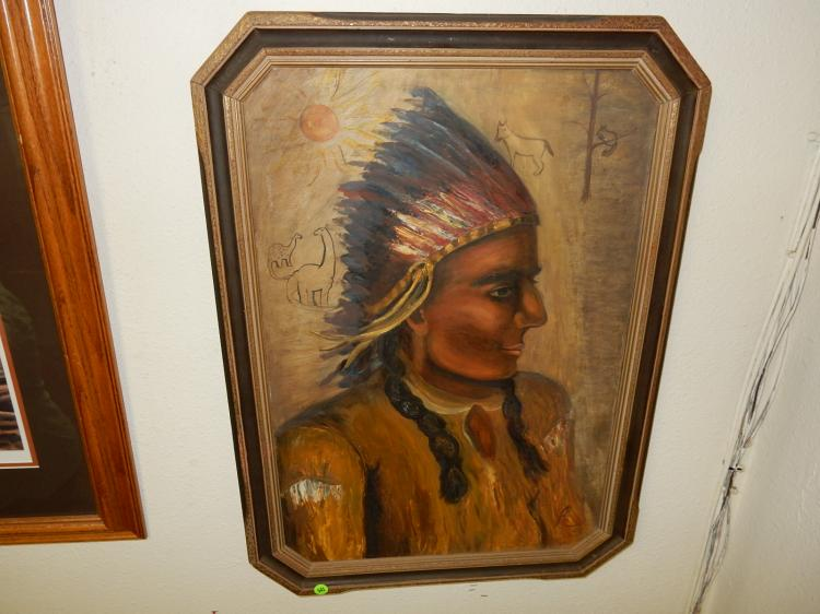 Nice vintage framed oil painting with Native American Warrior with Pictographs and Petroglyphs, sign