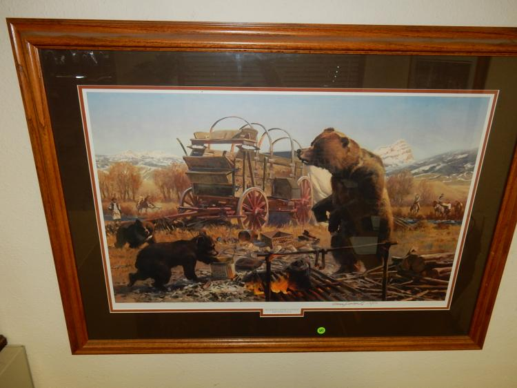 Large oak framed and matted signed and numbered limited edition print by Listed artist Gary Carter t
