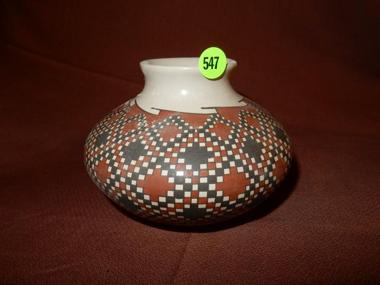 Nice Native American handmade and painted vessel, signed, Acoma pottery, cond VG