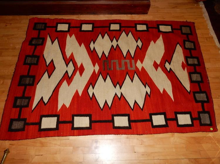 Wonderful vintage handmade original Navajo rug with Storm? Pattern, comes with copy of original rece