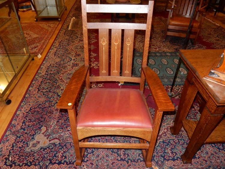Outstanding American oak Arts & Crafts Stickley, (labeled and branded) Mission style inlay rocker, #