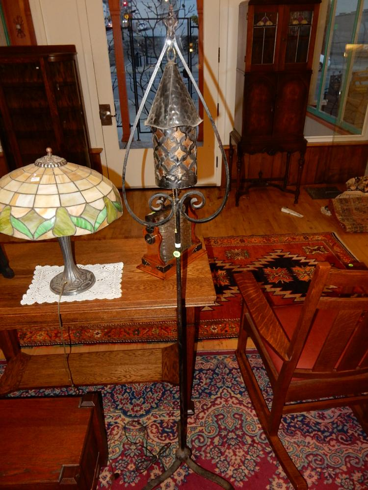 Arts & Crafts era hand forged floor lamp with tri-foot base, inverted heart design, mica style shade