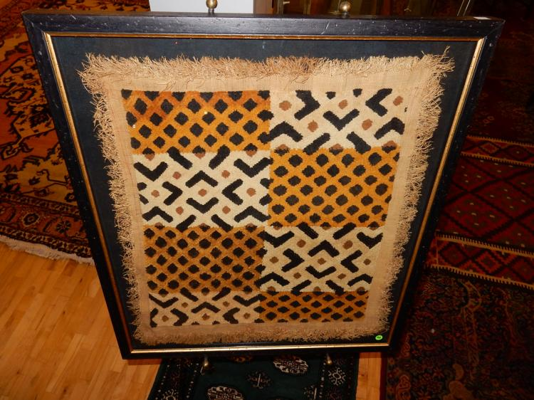 Unique hand woven African panel textile, framed, special shipping required