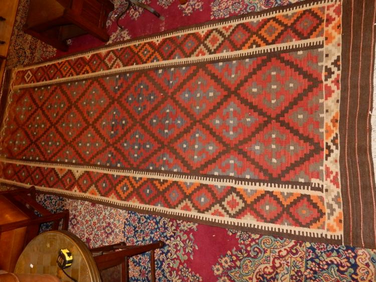 Nice vintage Arts & Crafts style hand tied 100% wool runner rug from Prussia, (Kelim pattern) cond