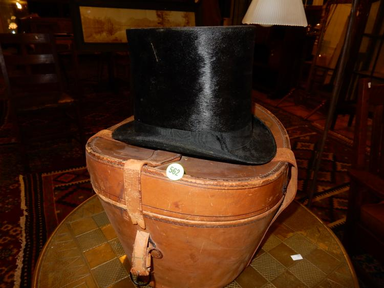 Great antique beaver felt top hat in leather case