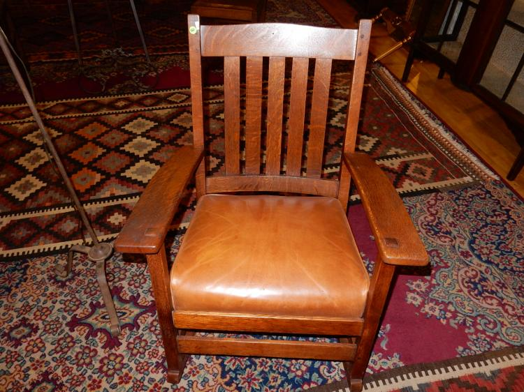 Original antique American oak Arts & Crafts rocker by Stickley, labeled The Work of L & J. G. Stickl