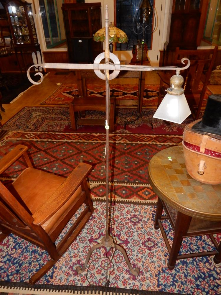 Arts & Crafts era hand forged floor lamp with tri-foot base,  with shade, special shipping required