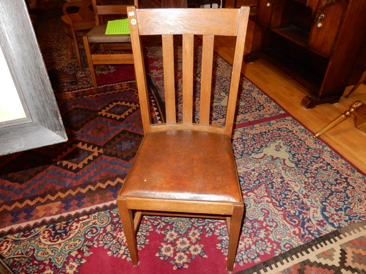 Nice antique American oak Arts & Crafts, Mission side chair with Northwest Chair Co, Tacoma WA labe