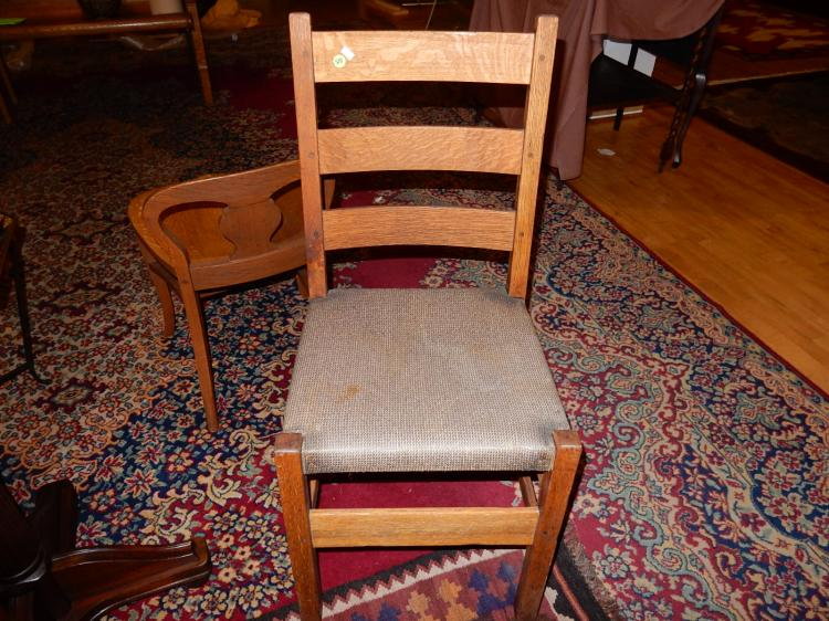 Nice antique American oak  Arts & Crafts, Mission side chair with Stickley branded stamp on back sup