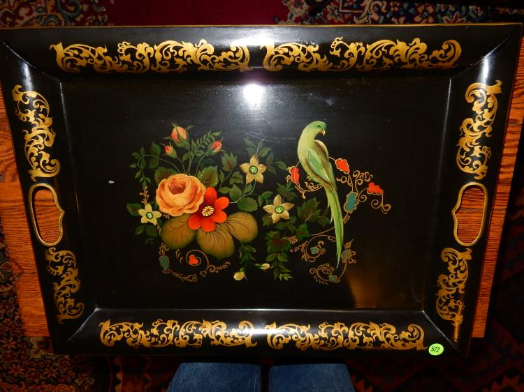 Beautiful antique Arts & Crafts era tole painted tray with bird and floral scene