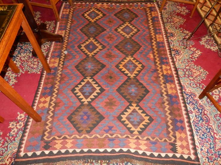 Nice vintage Arts & Crafts style hand tied 100% wool rug from Prussia, (Kelim pattern)  cond VG-used