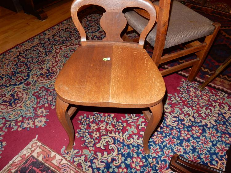 Antique American oak vanity stool / chair, special shipping required