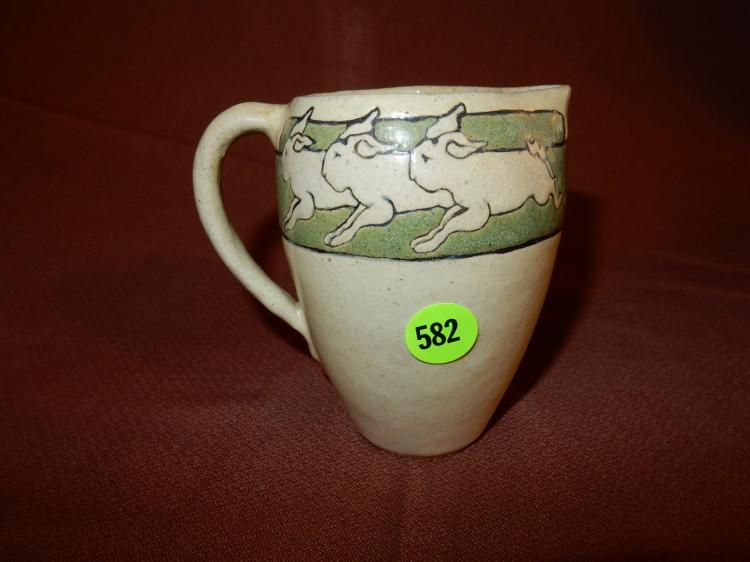 Rare Arts and Crafts Saturday Evening Girls SEG Paul Revere Pottery cream pitcher with green band and bunnies / rabbits, marked S.E.G. FL 173-9-10, cond VG