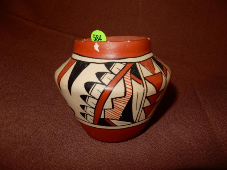 Original hand painted Native American vessel / bowl, signed on bottom, cond G0-VG minor paint loss from use