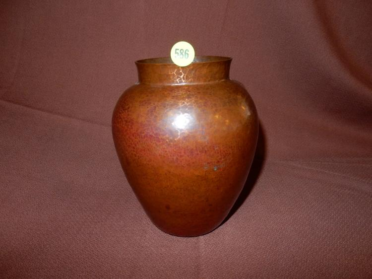 Arts and Crafts hand hammered copper vase,