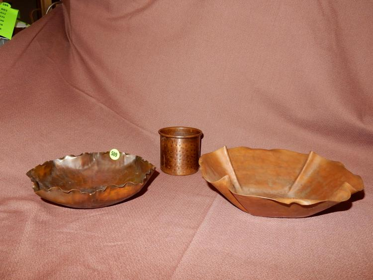 3 piece Arts and Crafts hand hammered copper bowls and cup, all stamped on base