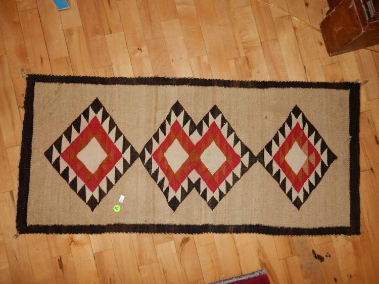 Vintage hand woven Native American Navajo rug