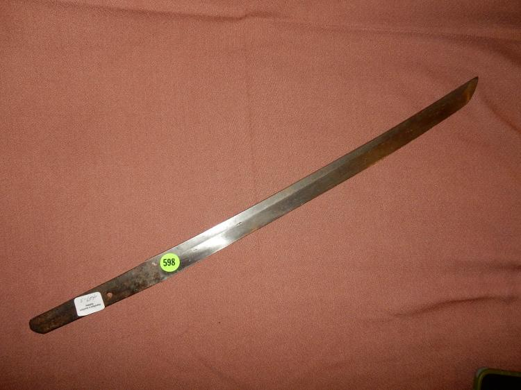 3) WWII Japanese sword blade (no handle), no maker's mark found (one of three from this estate)