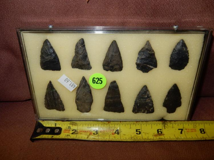 Nice framed collection of handmade Native American arrowheads / tools, etc, with case, various sizes, info / history / location etc on back label**