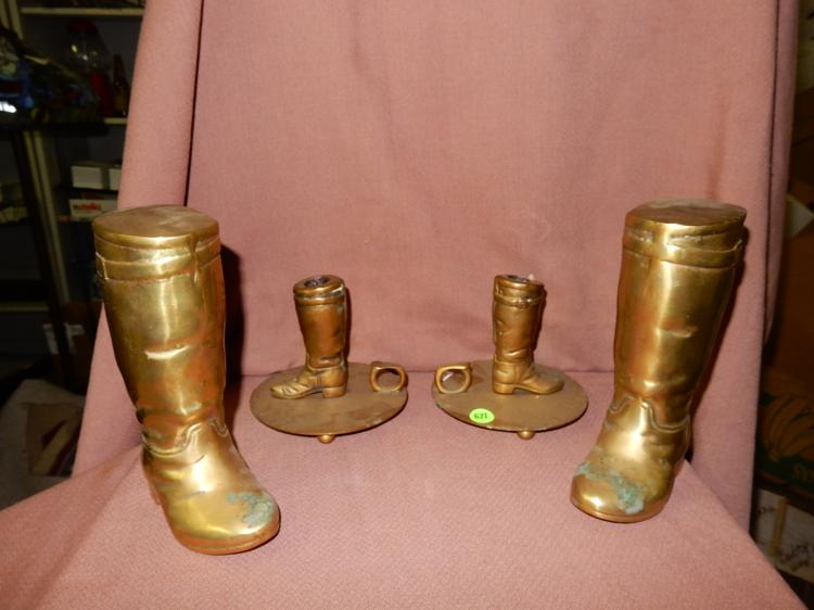 4 piece solid brass western style cowboy boot bookends and candlestick holders, needs polished