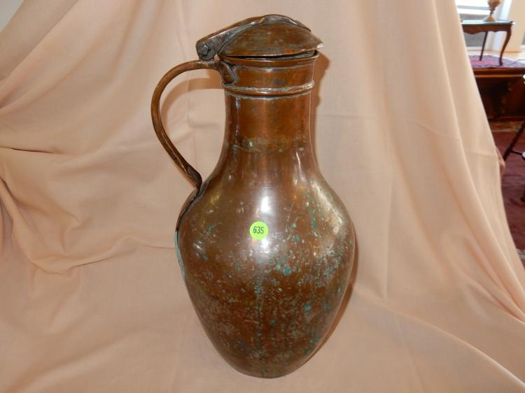 Vintage copper over galvanized pitcher /ewer. for water or wine, lidded