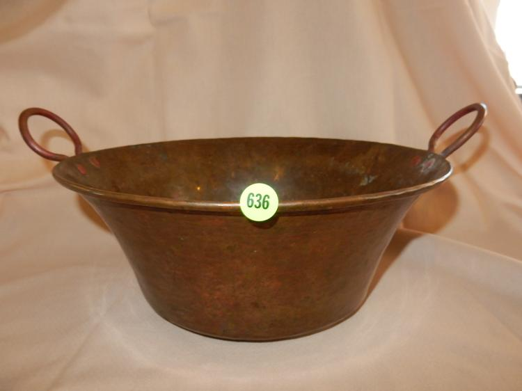 Vintage copper over galvanized bowl with handles