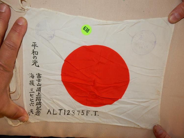WWII style / stamped 1955 Fuji mountain Japanese personal size flag with center sun symbol & writing
