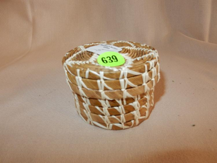 Vintage hand woven Native American lidded basket