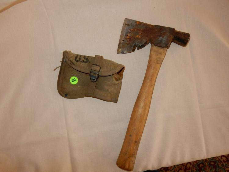 WWII U.S. issue hatchet with belt clip style case, hatchet needs cleaning