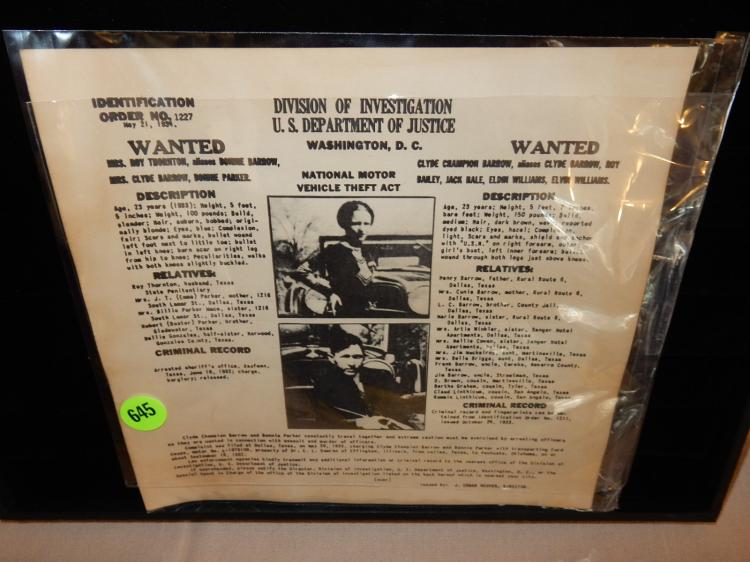 Unique Bonnie & Clyde wanted poster, unframed,