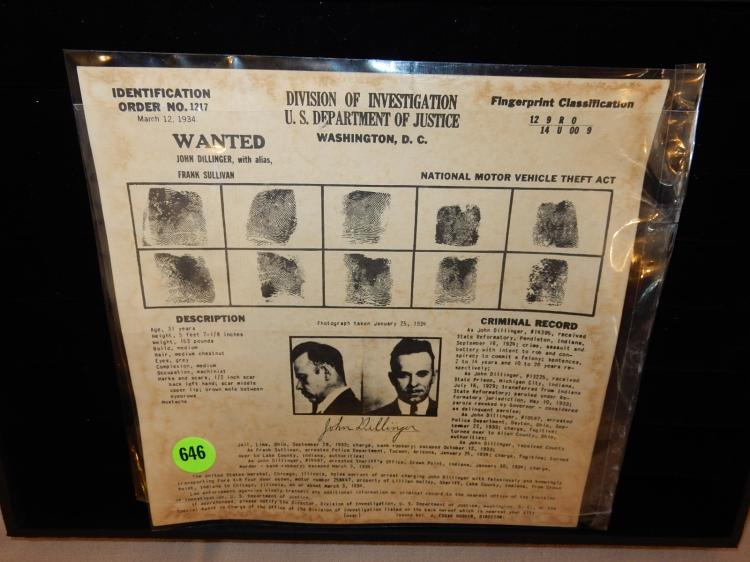 Unique wanted poster for John Dillinger, unframed