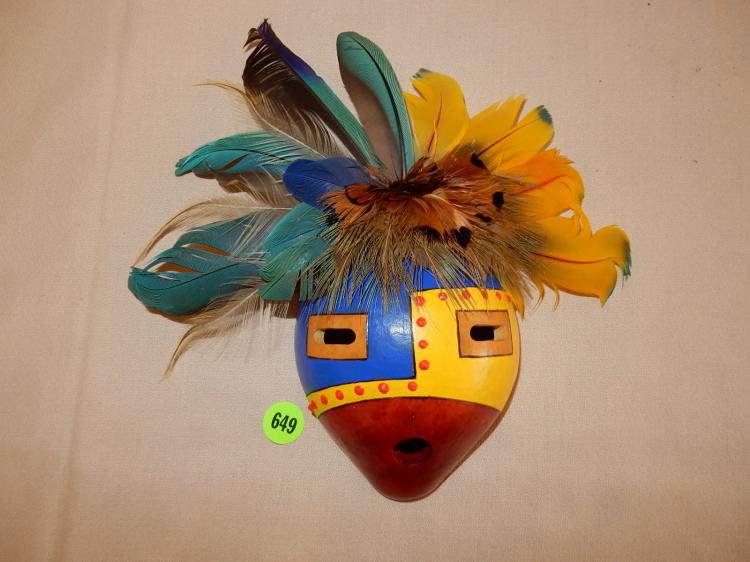 Unique hand painted shell mask with feathers, very colorful