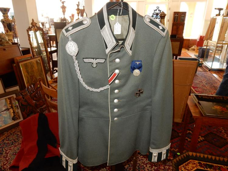 Rare WWII German Nazi officer's jacket with ribbons, awards, unusual cuffs, black light tested, COND VG
