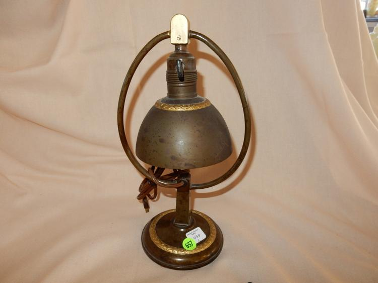 6) Vintage art deco / Atrs & Crafts metal bell style small table lamp stamped D.R.G.M. German lamp