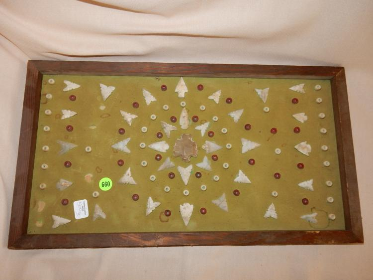 3) Collection of handmade Native American arrow heads & trade beads, framed