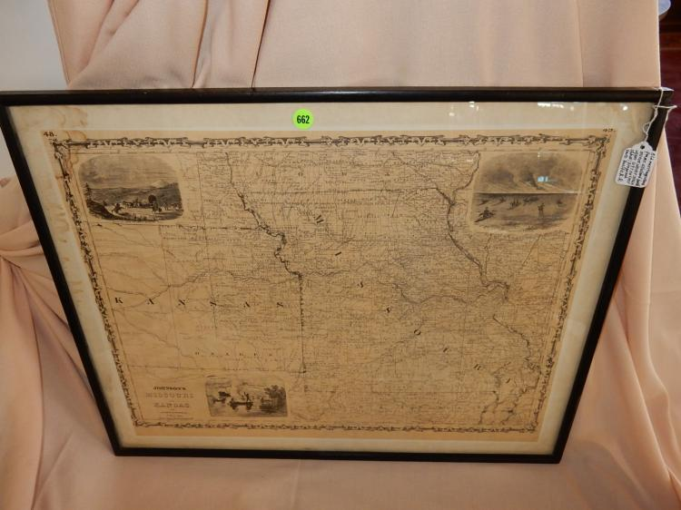 Nice antique framed 1861 Civil War era map, by Johnson and Browing, Depicting Missouri & Kansas, cond G-VG minor staining