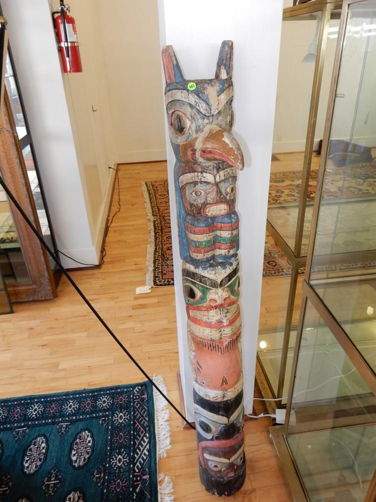 Wonderful antique hand carved and painted Native American totem pole, with several figures, Raven beak repaired, no side wings (holes filled) special shipping required