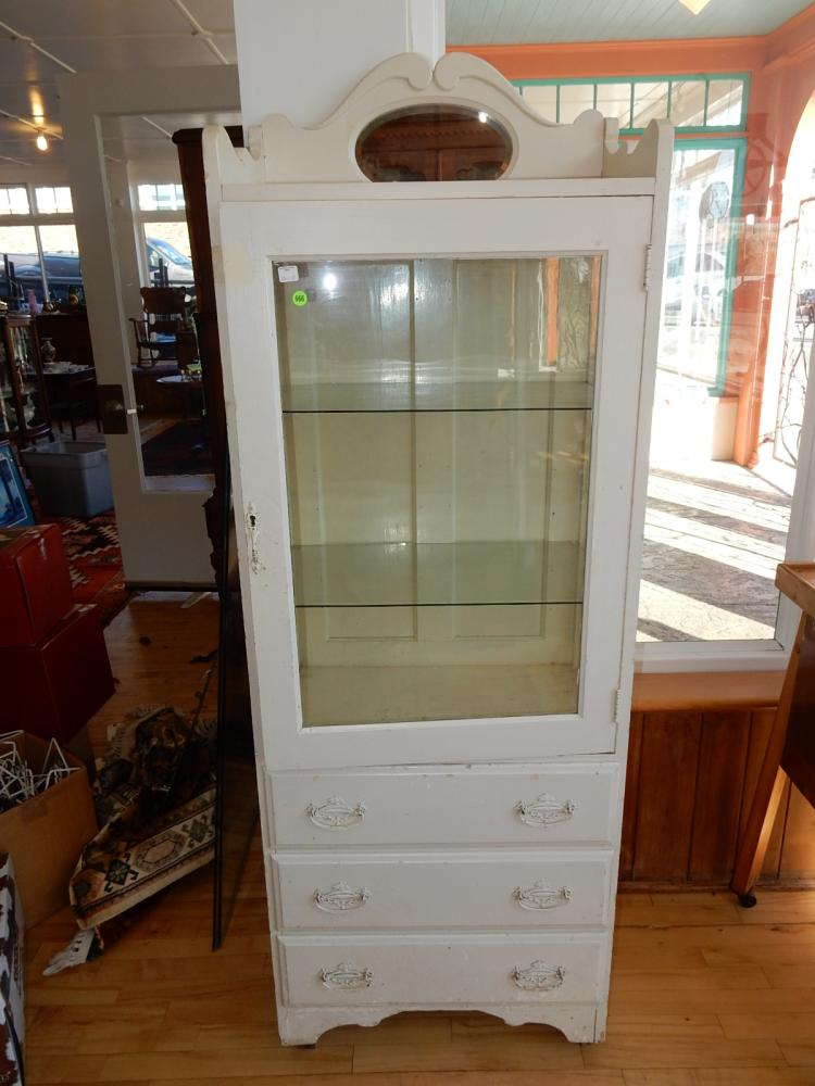 11) Original antique dental cabinet, with mirrored backsplash, painted white, single door & triple drawer. Special shipping required