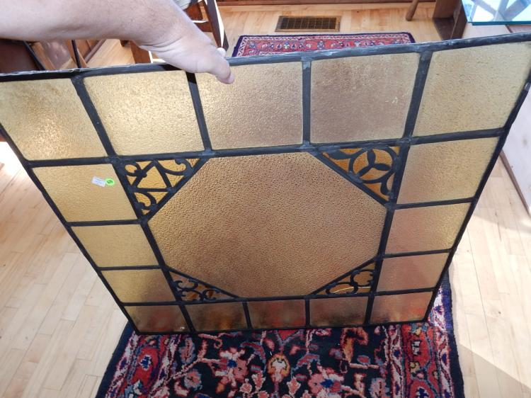 7) Nice antique / vintage stained glass window, special shipping required