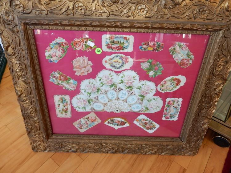 Antique framed collage of Victorian cards and fan