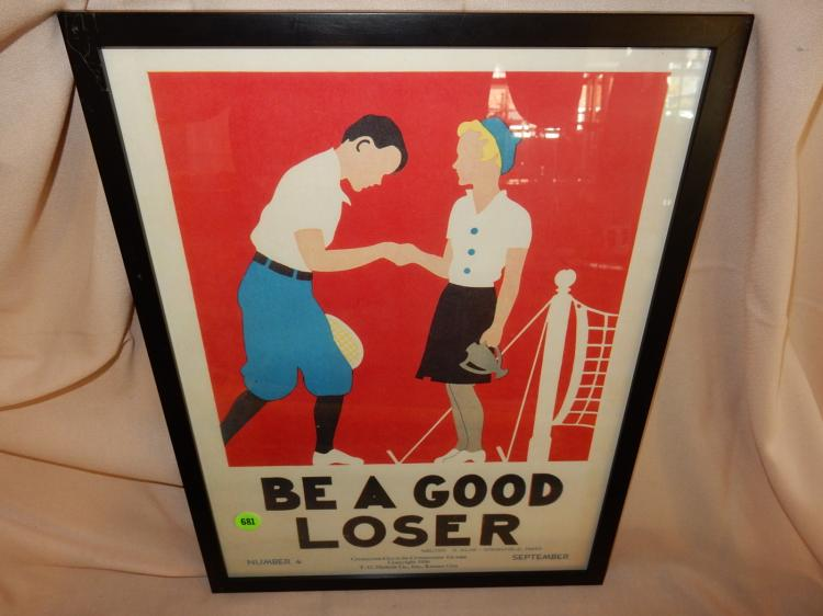 Vintage framed original 1936 advertising poster for character - culture - citizenship guide, titled