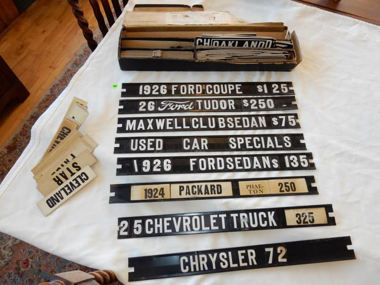 Rare antique automobile dealership sign kit, with metal sign frames & loads of interchangable words, titles, symbols, etc. in original box, box as found