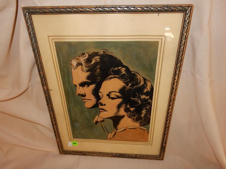 Vintage framed artwork, depicting art deco era man & woman, signed Snyder 1930? / 38?